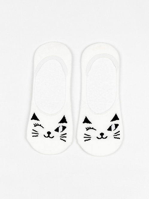 Winking Cat Liner Socks - Classic White front view