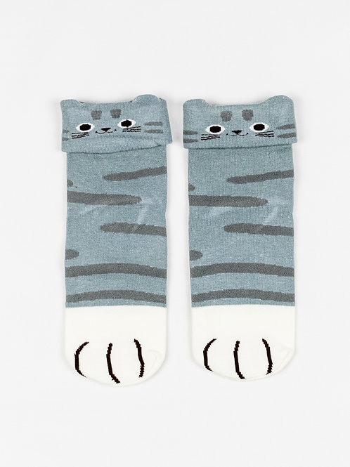 Cat Ears and Paws Socks - Classic Tabby front view