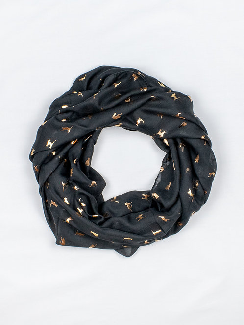Metallic Cat Print Scarf - Black and Gold, circle wrap