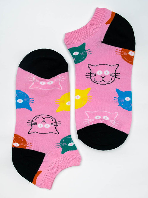 Cat Face Ankle Socks - Pretty Pink