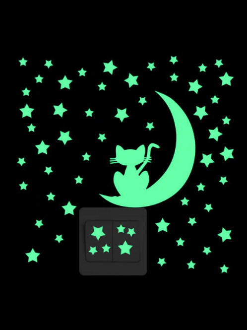 Cat on the Moon Luminous Light Switch Sticker