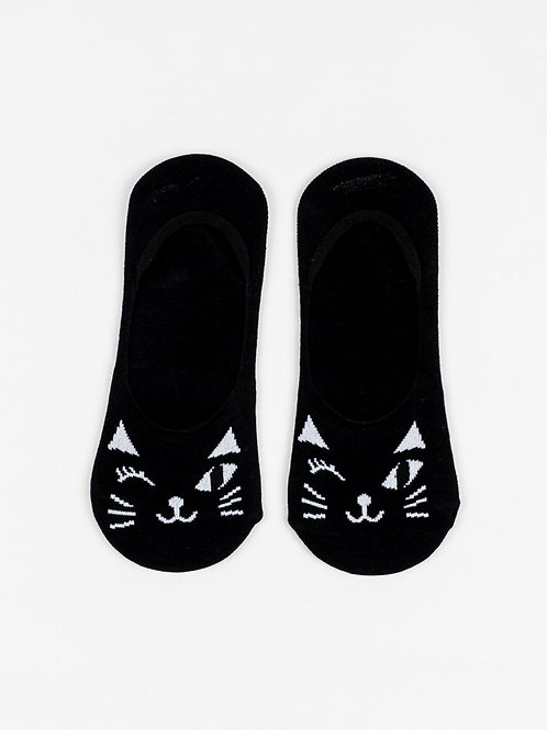 Winking Cat Liner Socks - Sexy Black front view