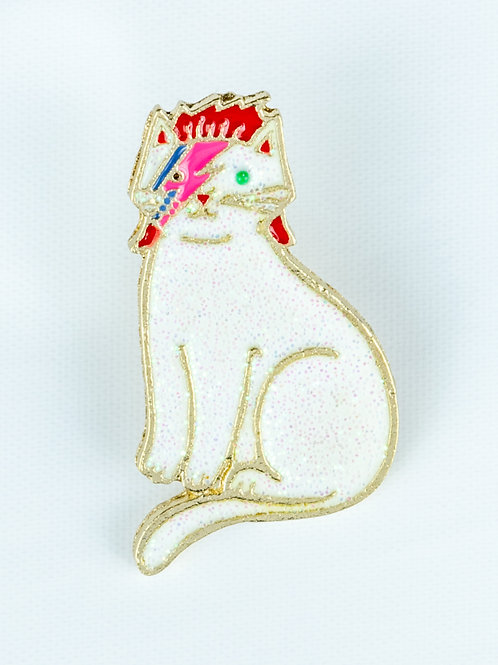 David Meowie Cat Enamel Pin