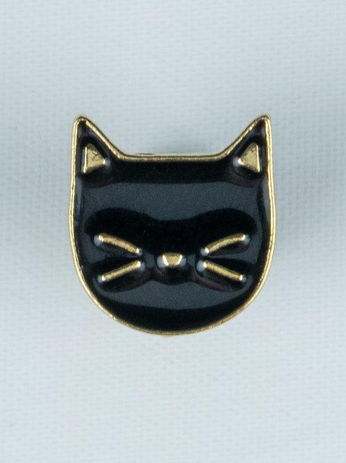 Black Cat Face Enamel Pin