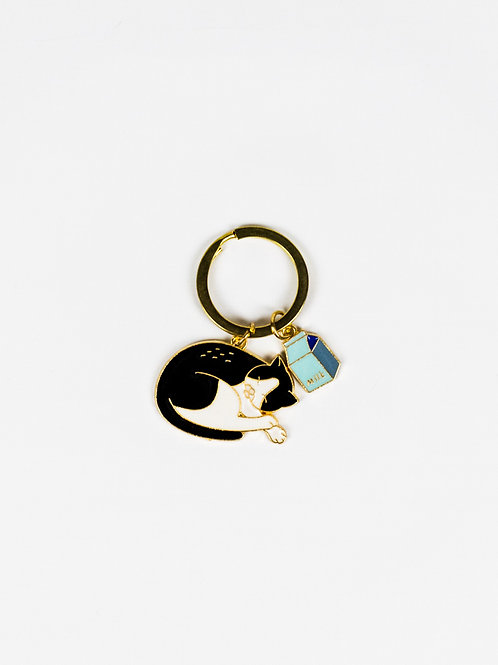 Cat Got the Cream Enamel Keychain front view