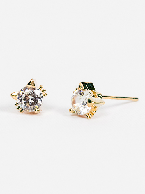 Cubic Zirconia Cat Earrings - Gold
