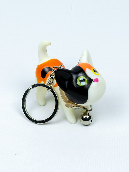 Raring to Go Kitten Keychain - Speckles side view