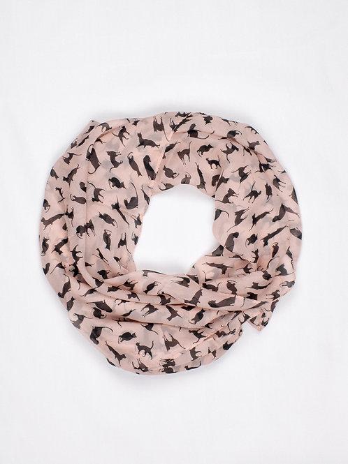 Chiffon Cat Print Scarf - Pretty Pink, circle wrap