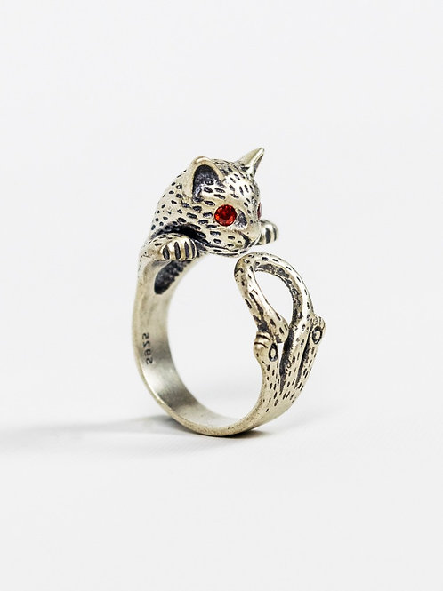 Sterling Silver Hippie Cat Retro Ring side view