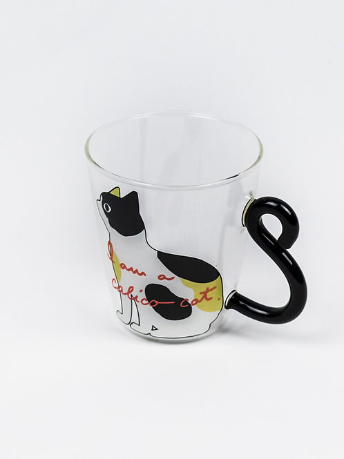 Curling Tail Cat Glass Mug - Calico Cat side view