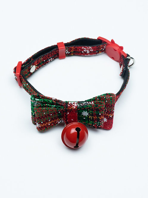 Christmas Bowtie Cat Collar - Green and Red