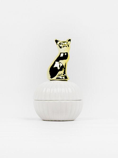 Cats Rule Ceramic Trinket Box - Classy Cream