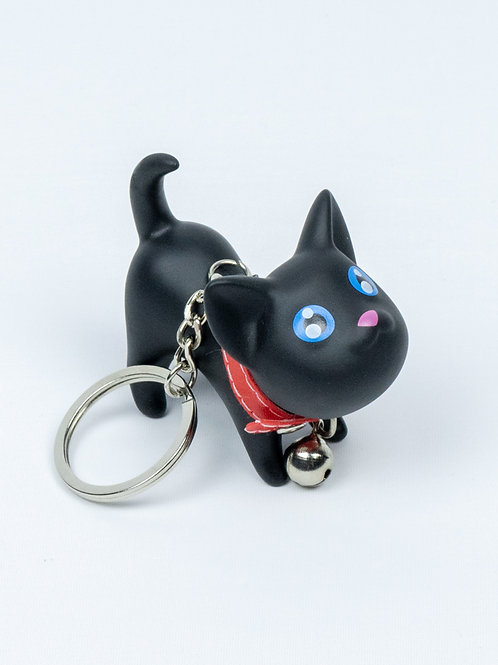 Raring to Go Kitten Keychain - Merlin, side view