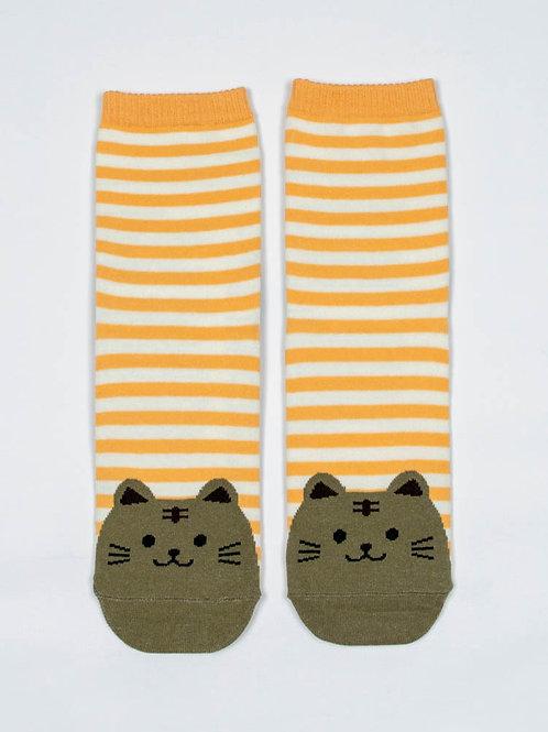 Fat Cat Socks - Playful Peach