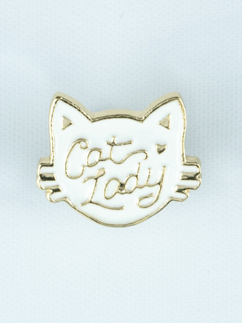 Face It Cat Lady Enamel Pin - White Cat