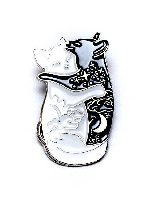 Cuddle Cats Day and Night Enamel Pin - Silver