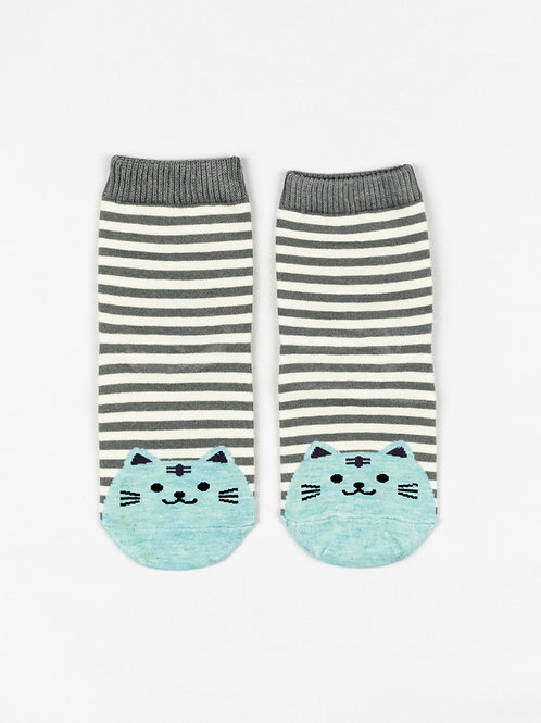 Fat Cat Socks - Sky Blue front view
