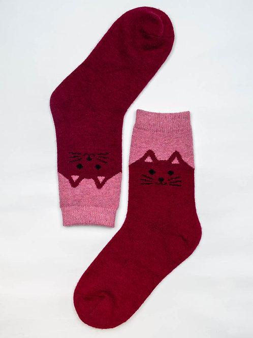 Happy Kitty Wool Socks - Wine