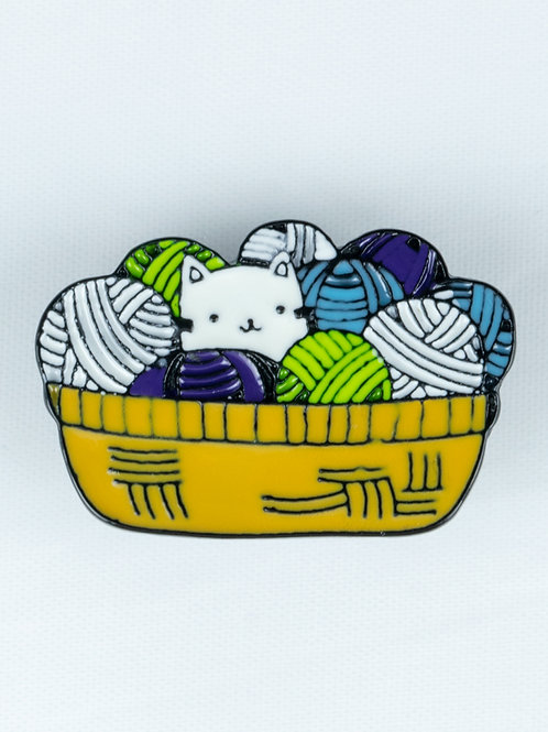 Yarn Ball Kitten Enamel Pin