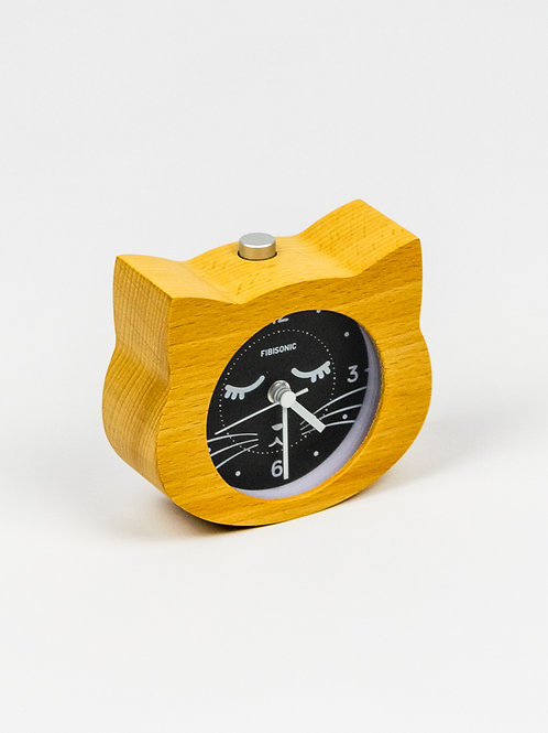 Kitty Cat Wooden Alarm Clock side view
