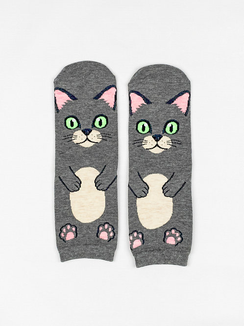 Tummy Up Cat Socks - Earl Grey