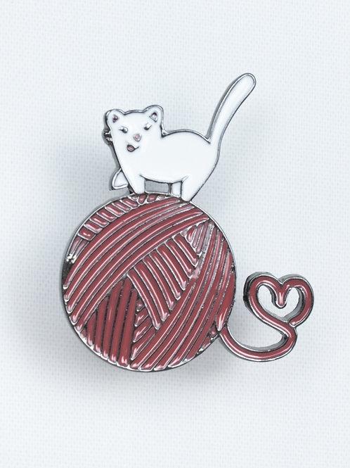 Knittin' Kitten Enamel Pin