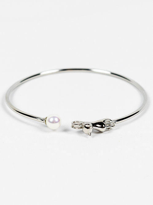Stretching Cat Sterling Silver and Pearl Bangle front view