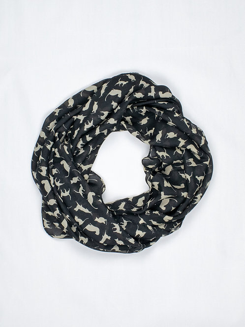 Chiffon Cat Print Scarf - Sexy Black, circle wrap