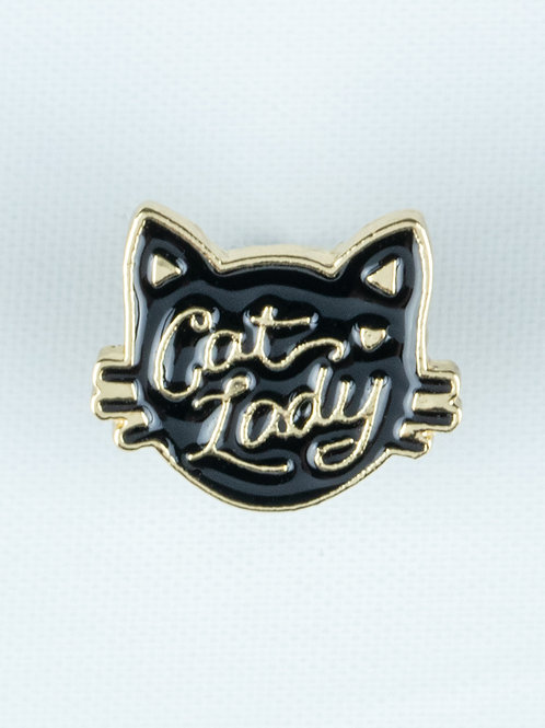 Face It Cat Lady Enamel Pin - Black Cat