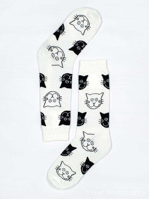 Men's Cat Face Socks - White