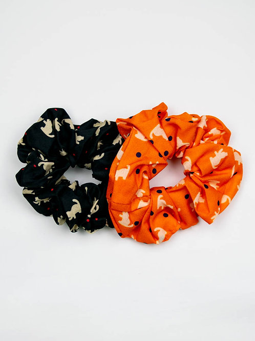 Kitty Kat Scrunchies - Black and Orange