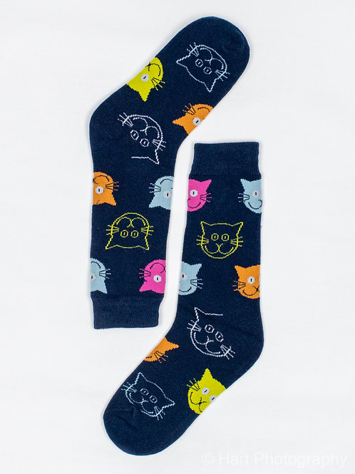 Men's Cat Face Socks - Navy