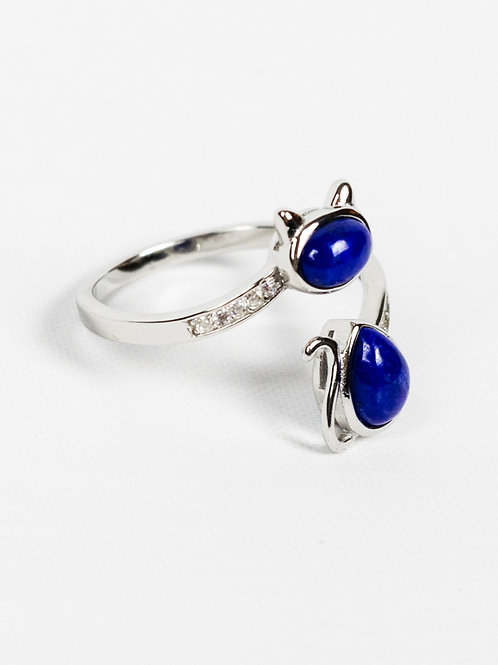 Sterling Silver Lapis Lazuli Cat Ring side view