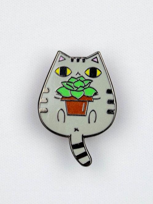 Cat + Plant Enamel Pin