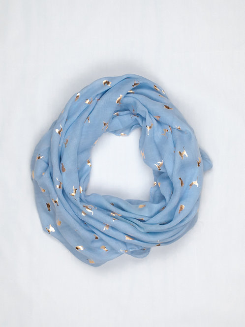 Metallic Cat Print Scarf - Sky Blue and Gold, circle wrap