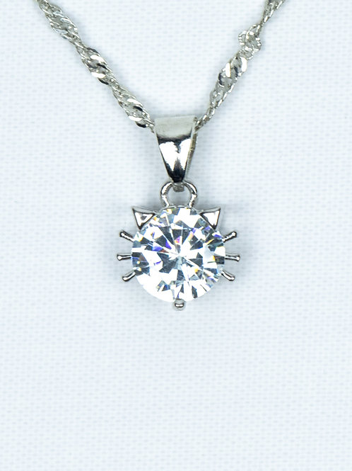 Cubic Zirconia Cat Necklace close up view of pendant