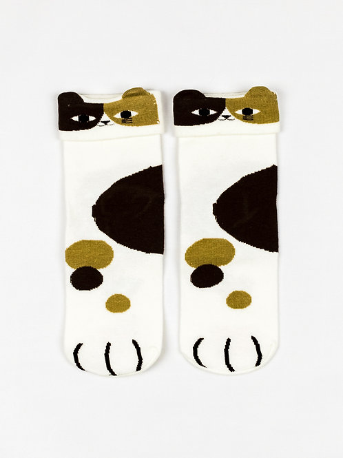 Cat Ears and Paws Socks - Calico Cutie front view
