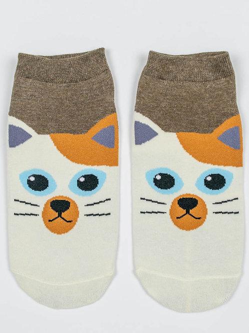 Kitty Kat Ankle Socks - Calico