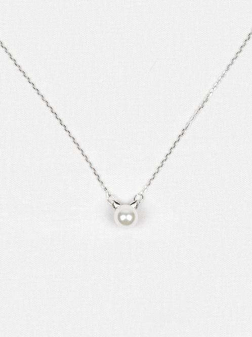 Sterling Silver and Pearl Cat Necklace front view