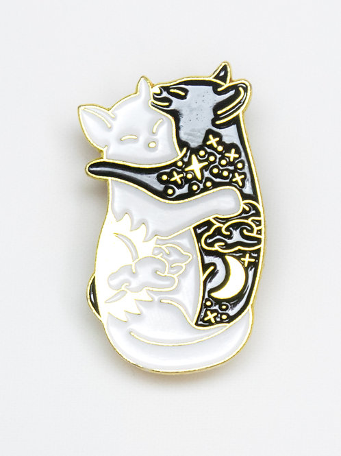Cuddle Cats Day and Night Enamel Pin - Gold
