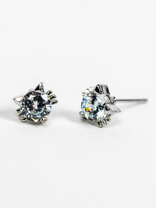 Cubic Zirconia Cat Earrings - Silver side view