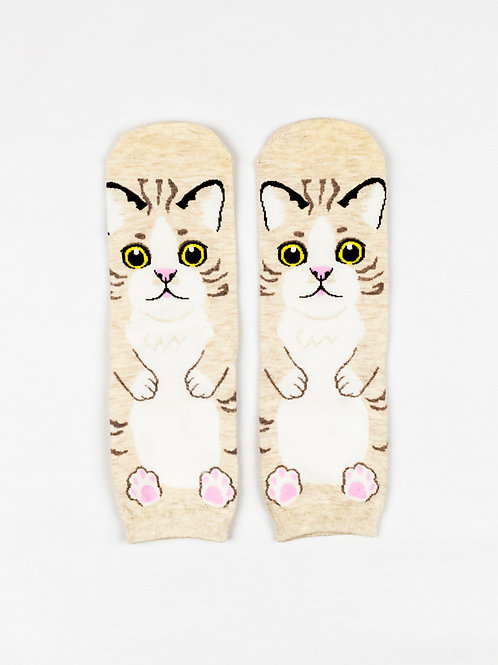 Tummy Up Cat Socks - Cookie front view