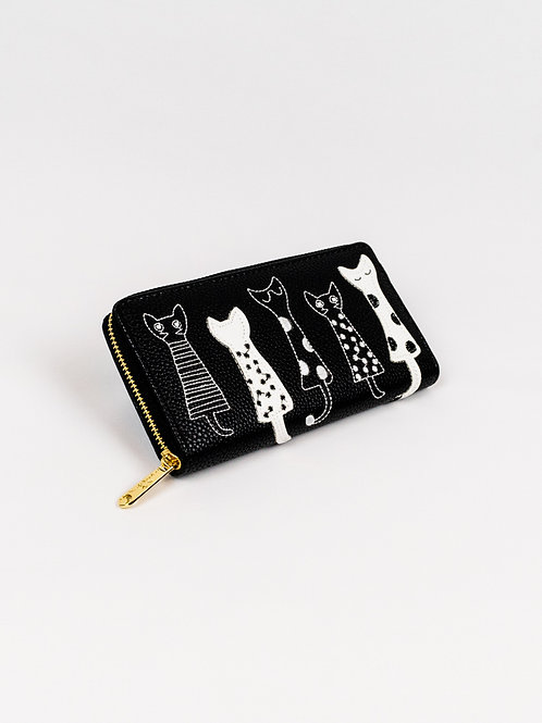 Crafty Cats Wallet - Classic Black, closed, front view