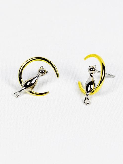 Over the Moon Sterling Silver and Gold Cat Earrings side view