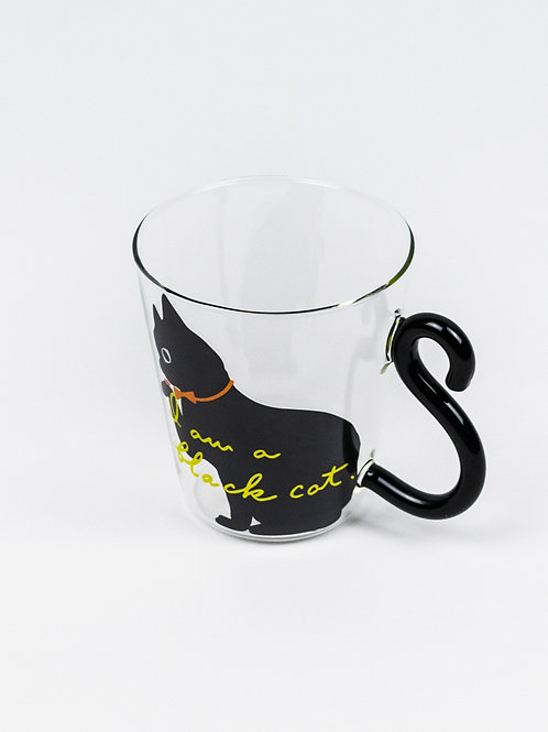 Curling Tail Cat Glass Mug - Black Cat side view