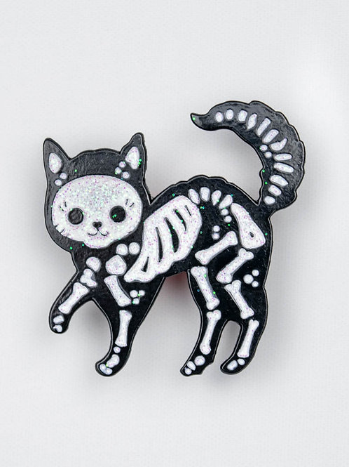 Spooky Cat Skeleton Enamel Pin