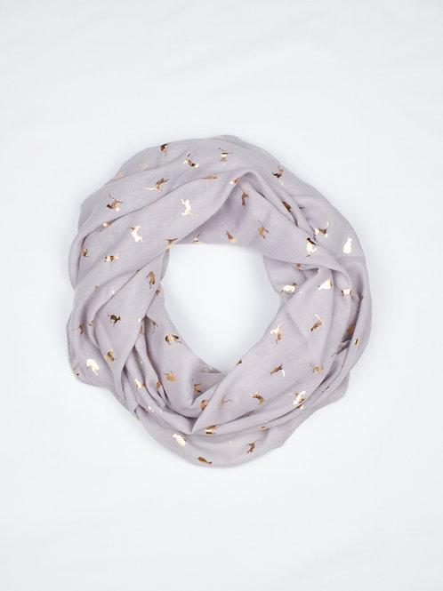 Metallic Cat Print Scarf - Grey and Gold, circle wrap