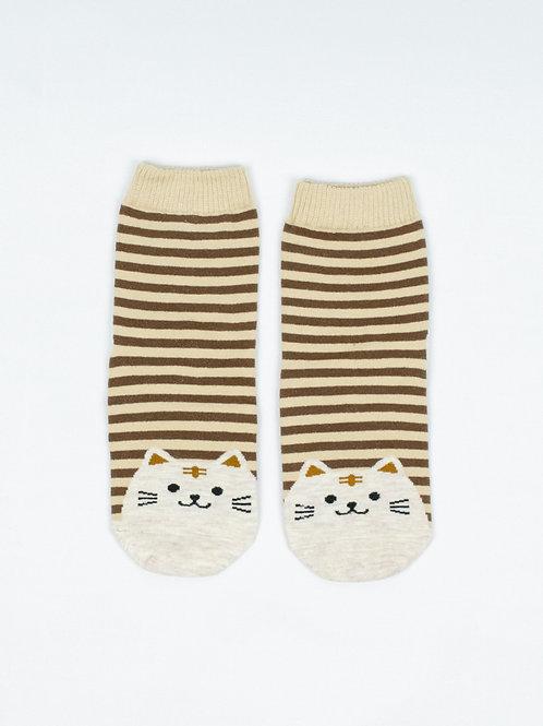 Fat Cat Socks - Caramel Brown front view