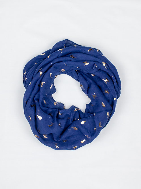 Metallic Cat Print Scarf - Navy and Gold, circle view