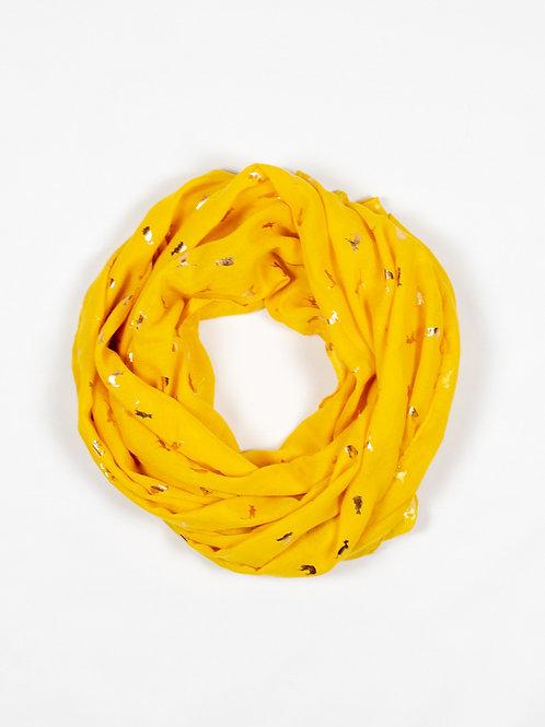 Metallic Cat Print Scarf - Yellow and Gold, circle wrap